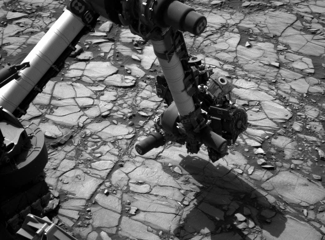 Curiosity's Arm Over 'Marimba' Target on Mount Sharp